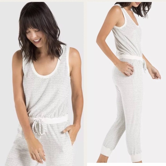ae73d014de48 cloth and stone terry stripe sleeveless jumpsuit